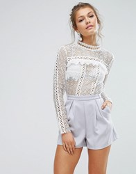 True Decadence Lace Romper With Lace Panels Blue