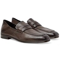 Ermenegildo Zegna L'asola Collapsible Heel Textured Leather Penny Loafers Dark Brown