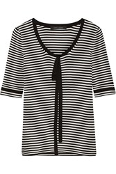 Marc Jacobs Pussy Bow Striped Cotton Sweater White