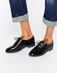 Daisy Street Lace Up Black Flat Shoes Black