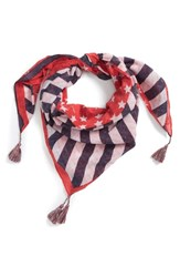 Steve Madden American Flag Square Scarf Navy Red