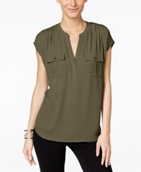 Inc International Concepts Dolman Sleeve Mixed Media Utility Shirt Olive Drab