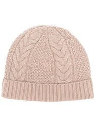 N.Peal Cable Knit Beanie Nude And Neutrals