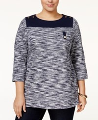 Charter Club Plus Size Space Dyed Top Only At Macy's Intrepid Blue