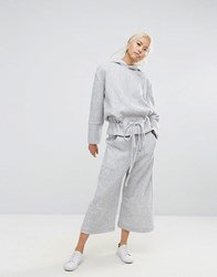 House Of Sunny Wide Leg Cropped Trousers In Rib Co Ord Grey