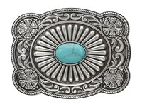 Mandf Western Scallop Edged Turquoise Rectangle Buckle Silver Turquoise Belts Multi