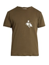 Valentino Mariposa Print Cotton T Shirt Green