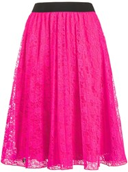 Philipp Plein Floral Lace A Line Skirt Pink