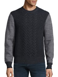 Rag And Bone Radford Cable Knit Wool Sweater Grey