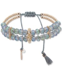 Lonna And Lilly Gold Tone Blue Bead Slider Bracelet Green