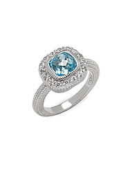 Judith Ripka White Sapphire Faux Crystal And Sterling Silver Ring