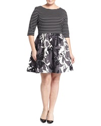 Taylor Plus Striped Floral 3 4 Sleeve Fit And Flare Dress Black Ivor