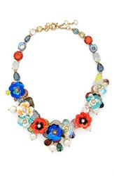 J.Crew Crystal And Sequin Wreath Necklace Blue Multi
