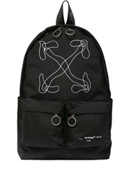 Off White Embroidered Arrows Tech Canvas Backpack Black
