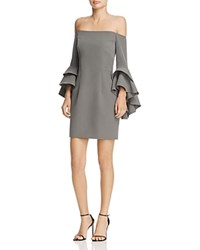 Milly Selena Ruffle Off The Shoulder Dress Gray