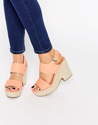 Asos Tell All Espadrille Wedge Sandals Coral Orange