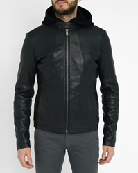 Ikks Black Wool Lined Leather Jacket With Removable Hood