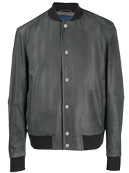 Drome Leather Bomber Jacket Grey