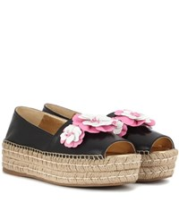 Prada Platform Leather Espadrilles Black