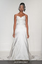 Women's Matthew Christopher 'Lillian' Strapless Lace And Duchess Satin Trumpet Gown In Stores Only