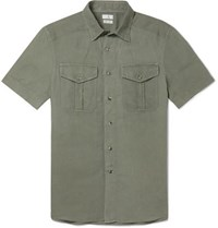 Brunello Cucinelli Slim Fit Linen And Cotton Blend Shirt Green