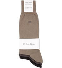 Calvin Klein Pack Of Three Flat Knit Socks Opal Olive Pine Asst