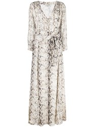 Nicholas Snakeskin Print Maxi Dress White