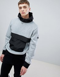 D Struct Overhead Contrast Pocket Hoodie Grey Marl Black