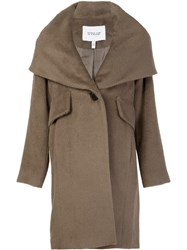 Derek Lam 10 Crosby Hooded Shawl Collar Coat Nude Neutrals
