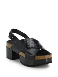 Robert Clergerie Leather Criss Cross Platform Sandals Black