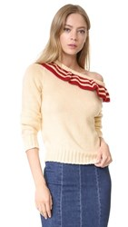 Philosophy Di Lorenzo Serafini Ruffle Pullover Cream Red