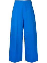Msgm Cropped Wide Leg Trousers Women Cotton 42 Blue
