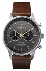 Triwa Smoky Nevil Chronograph Leather Strap Watch 42Mm