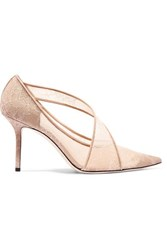 Jimmy Choo Haylene 85 Leather Trimmed Corded Lace Pumps Sand