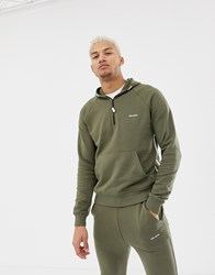 Religion 1 4 Zip Hoodie With Side Taping Green