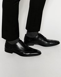 Dune Leather Wing Tip Brogues Black