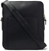 Smythson Panama Cross Grain Leather Messenger Bag Black