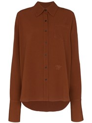 Wales Bonner Logo Embroidered Shirt Brown
