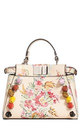 Fendi Micro Peekaboo Floral Applique Leather Satchel