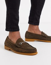 G.H. Bass Gh Easy Weejun Lincoln Bar Loafers In Brown Suede