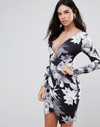 Jessica Wright Long Sleeve Palm Tree Print Wrap Dress Black