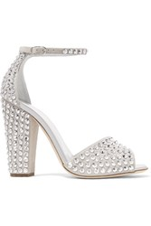 Giuseppe Zanotti Crystal Embellished Suede Sandals Light Gray