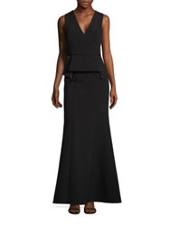 Bcbgmaxazria V Neck Peplum Gown Black Multicolor