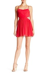 Steppin Out Ruched Cutout Mini Dress Red