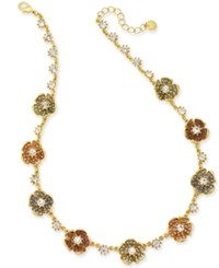 Charter Club Gold Tone Multi Stone Flower Necklace 18 2 Extender Created For Macy's