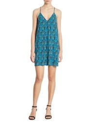 Alice Olivia Fierra Stretch Silk Y Back Tank Dress Fan Floral Laguna