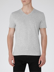 Reiss Dayton V Neck T Shirt Grey Marl