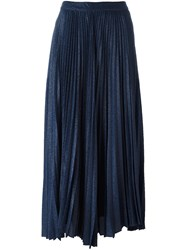 Alice Olivia Pleated Jacquard Skirt Blue