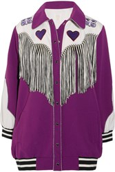 Anna Sui Fringed Appliqued Crepe Jacket Purple
