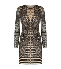 Jovani Aztec Bead Mini Dress Female Silver